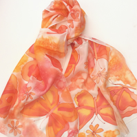 Orange Butterfly hand painted silk scarf