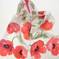 Red Poppies hand painted silk scarf