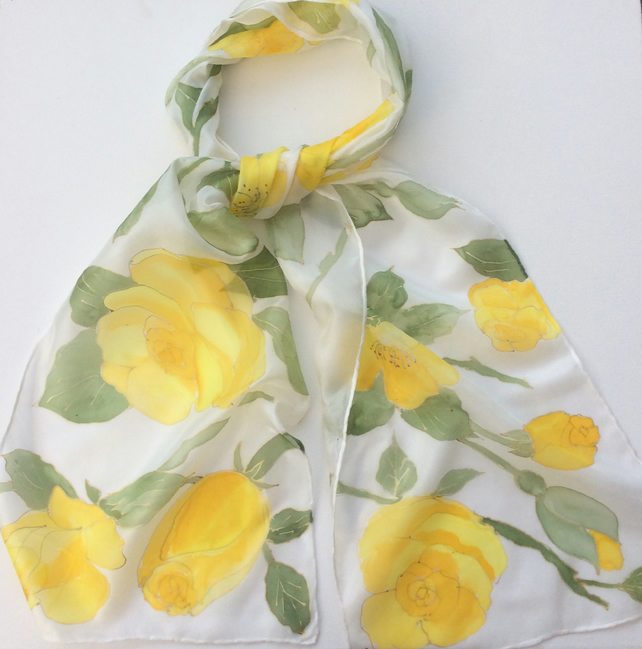 Yellow Roses hand painted silk scarf