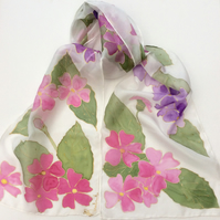 Pink and purple Primula hand  painted silk scarf