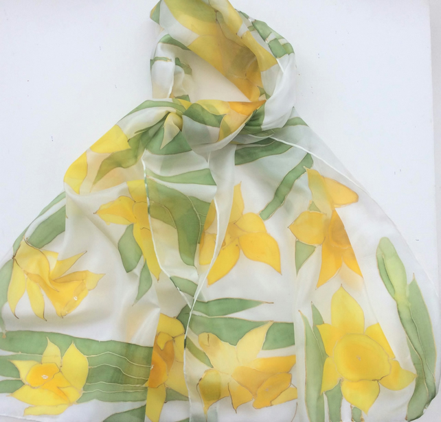 Yellow Daffodils hand painted silk scarf