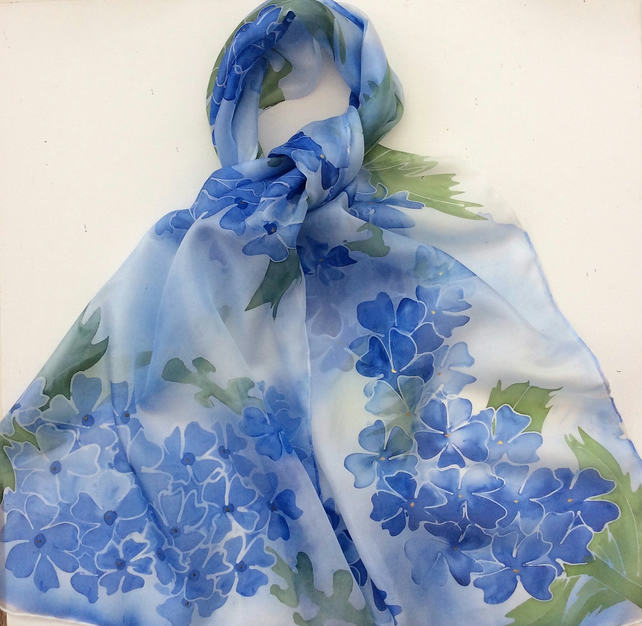 Delphiniums hand painted silk scarf