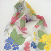 Primulas  hand  painted silk scarf