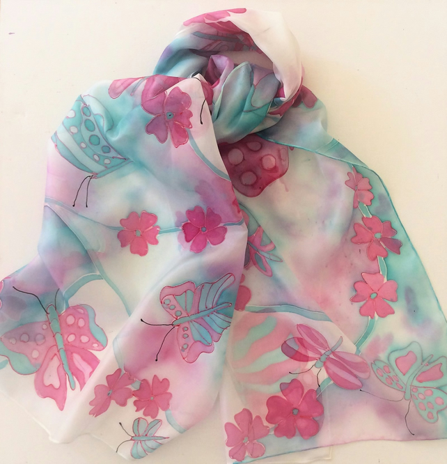 Pink and Turquoise Butterfly hand painted silk scarf