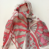 Red and Grey decorative fans hand painted silk scarf