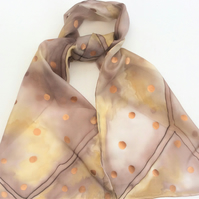 Soft Brown hand painted silk scarf