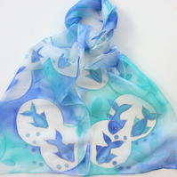 Blue Fish  hand painted silk scarf