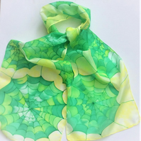 Green Cobwebs hand painted  silk scarf