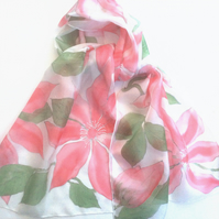 Pink Clematis hand painted silk scarf