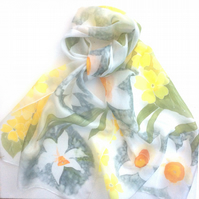Narcissus and Primroses hand painted silk scarf