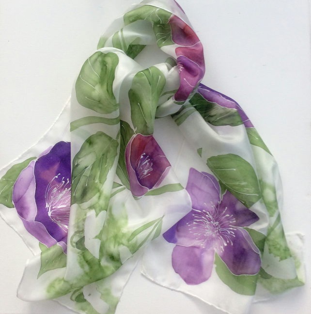 Snowdrops and Hellebores hand painted silk scarf