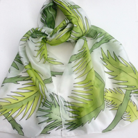 Green Palm leaves hand painted silk scarf
