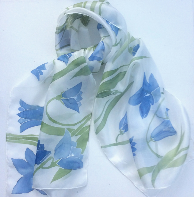 Blue Harebells hand painted silk scarf
