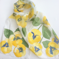 Yellow Pansies hand painted silk scarf