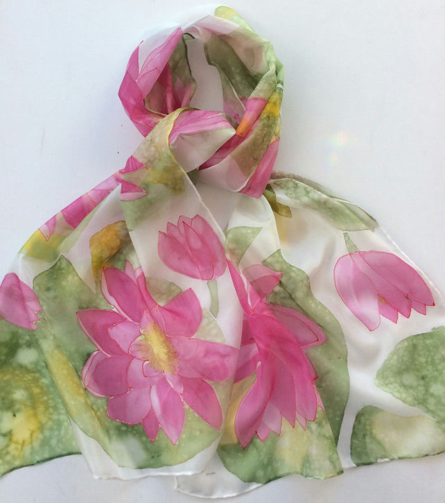 Waterlilies hand painted silk scarf