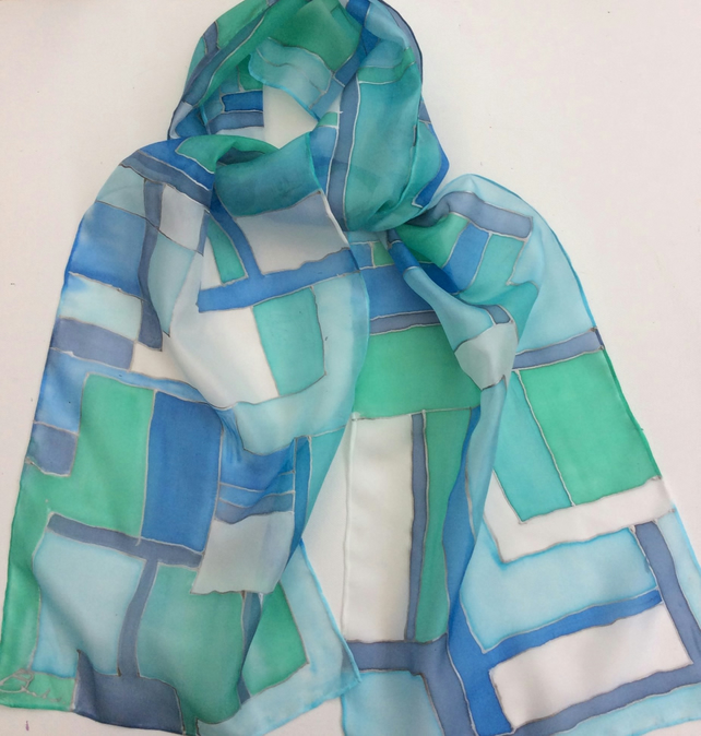 Blue and turquoise  hand painted silk scarf