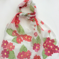 Red Primulas hand painted silk scarf