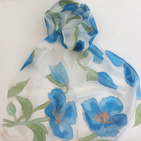 Himalayan Poppy hand painted silk scarf