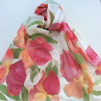 Red Iris hand painted silk scarf