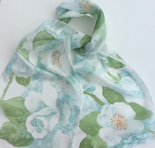 White Roses hand painted silk scarf