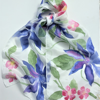 Blue Clematis and Roses  hand painted silk scarf