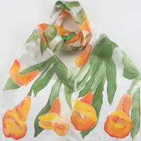 Calla Lilies  hand painted silk scarf