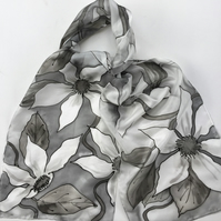White Clematis hand painted silk scarf