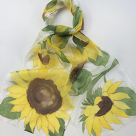 Sunflowers hand painted silk scarf