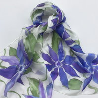 Blue Clematis hand painted  Silk Scarf
