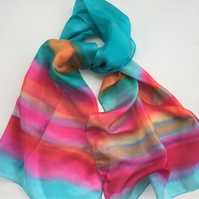 Striped hand painted silk scarf.  Aqua and pink silk scarf