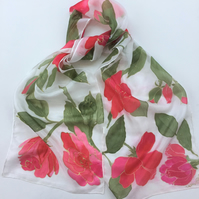 Red Roses hand painted silk scarf