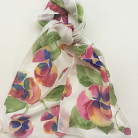 Red Pansies hand painted silk scarf