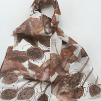 Autumn Leaves and teasels  hand painted silk scarf
