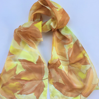 Golden Brown Leaves  hand painted silk scarf