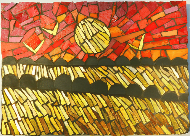 Golden Cornfield at Sunset mosaic picture