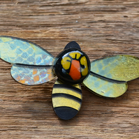 Bee Happy Flower Brooch