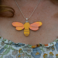 Bee Happy acrylic and metal leaf Necklace
