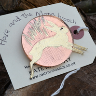 Hare and the Rose Gold Moon Brooch