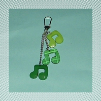 green musical notes bag charm/keyring