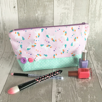 Pale Pink Medium Unicorn Print Make up Bag