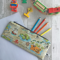 Children's Pirate Print Fabric Pencil Case