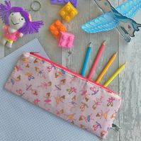 Children's Pink Ballerina Print Fabric Pencil case