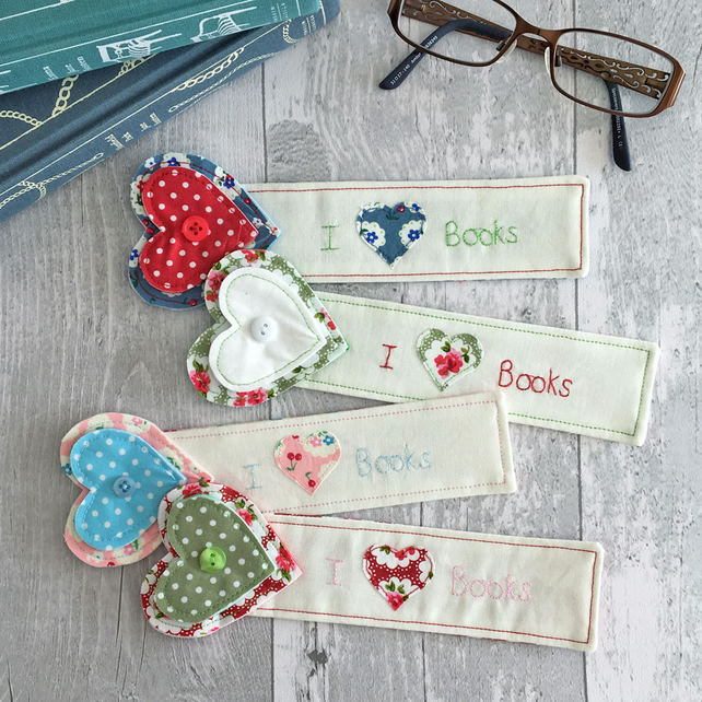 Personalised Heart Top Fabric Bookmark