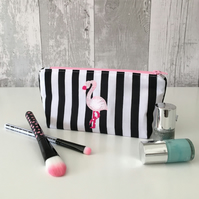 Small Striped Fabric Flamingo Make up Bag