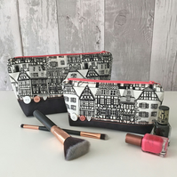 Monochrome House Print Fabric Make up Bag