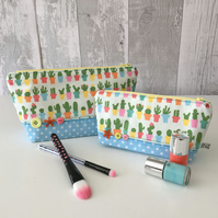 Cactus Print Fabric Make up Bag