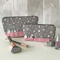 Rocketship Print Fabric Make up Bag