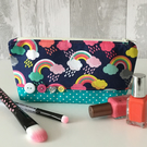Rainbow Print Fabric Make up Bag