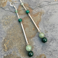 Green Agate and Green Mountain Jade with Silver Earrings