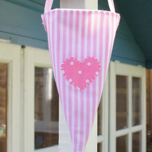 Pink Candy Stripe Fabric Cone